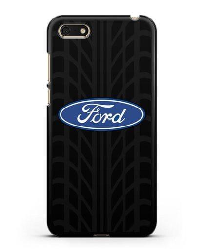Чехол c эмблемой Ford с протектором шин силикон черный для Honor 7А