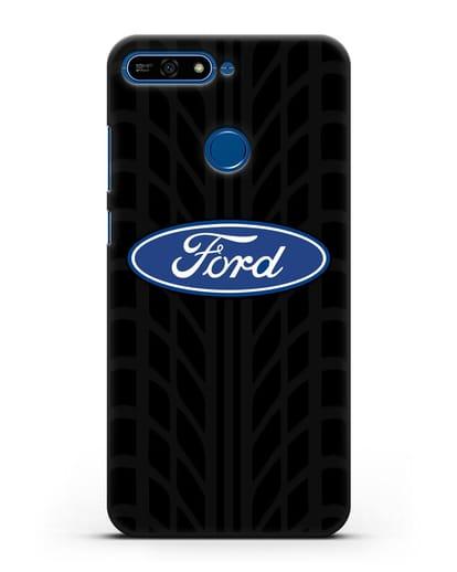 Чехол c эмблемой Ford с протектором шин силикон черный для Honor 7А Pro