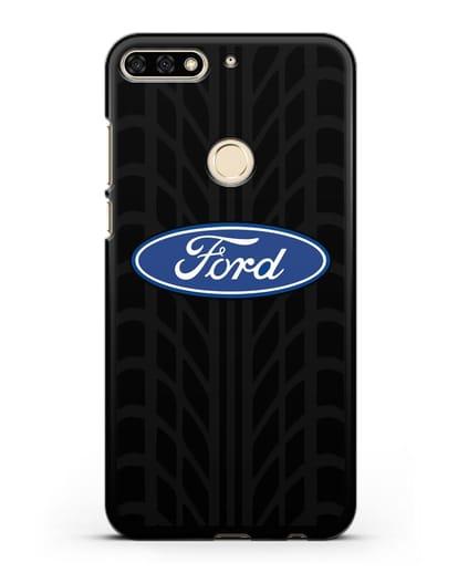 Чехол c эмблемой Ford с протектором шин силикон черный для Honor 7C