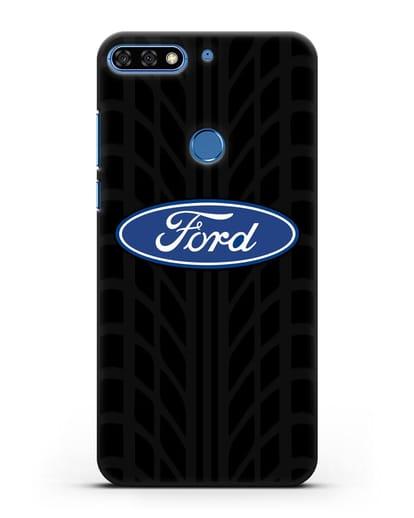 Чехол c эмблемой Ford с протектором шин силикон черный для Honor 7C Pro