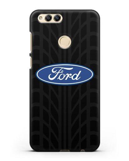 Чехол c эмблемой Ford с протектором шин силикон черный для Honor 7X