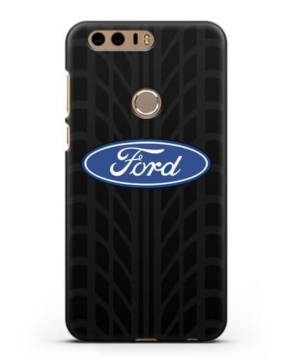 Чехол c эмблемой Ford с протектором шин силикон черный для Honor 8