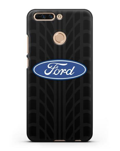Чехол c эмблемой Ford с протектором шин силикон черный для Honor 8 Pro