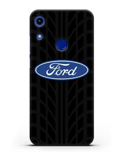 Чехол c эмблемой Ford с протектором шин силикон черный для Honor 8A