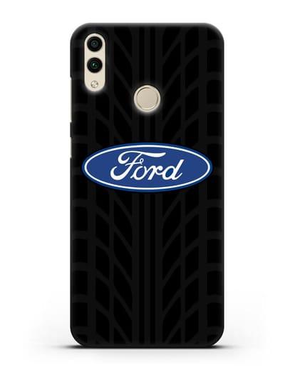 Чехол c эмблемой Ford с протектором шин силикон черный для Honor 8C