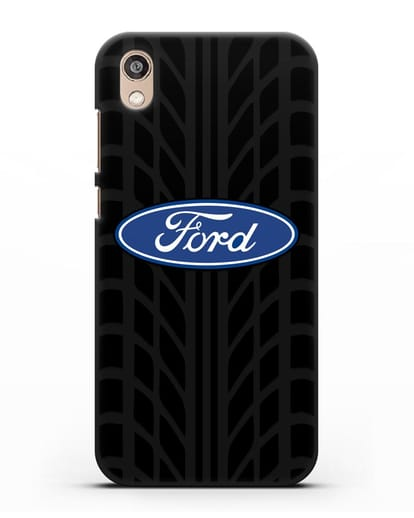 Чехол c эмблемой Ford с протектором шин силикон черный для Honor 8S Prime