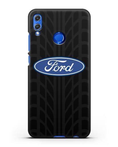 Чехол c эмблемой Ford с протектором шин силикон черный для Honor 8X