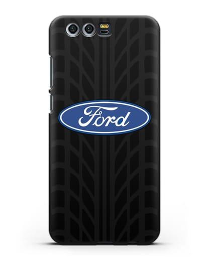 Чехол c эмблемой Ford с протектором шин силикон черный для Honor 9