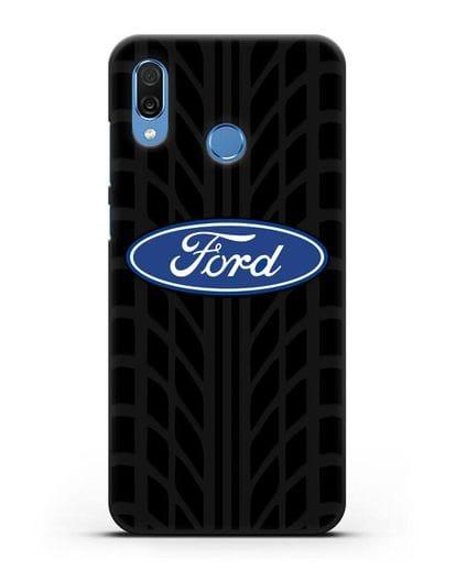 Чехол c эмблемой Ford с протектором шин силикон черный для Honor Play
