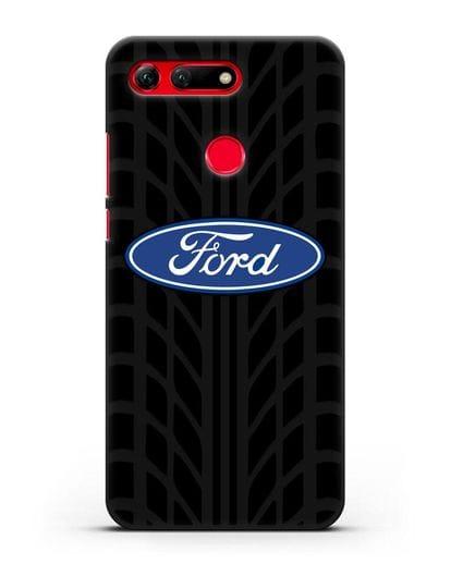 Чехол c эмблемой Ford с протектором шин силикон черный для Honor View 20