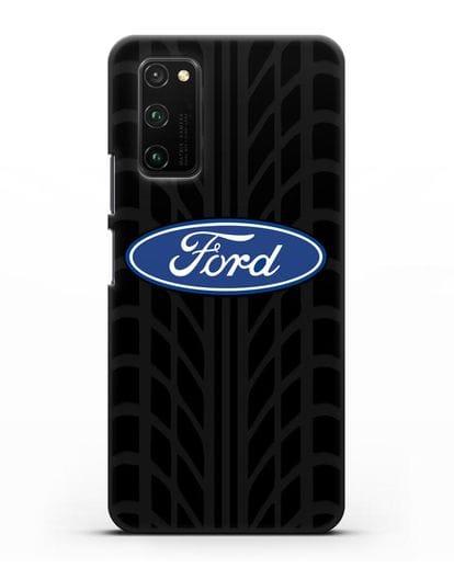 Чехол c эмблемой Ford с протектором шин силикон черный для Honor View 30 Pro