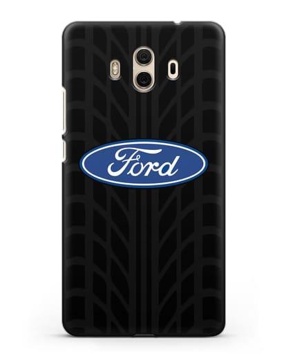 Чехол c эмблемой Ford с протектором шин силикон черный для Huawei Mate 10