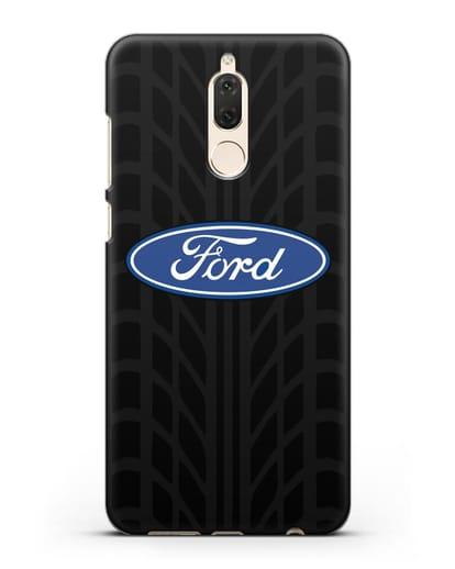 Чехол c эмблемой Ford с протектором шин силикон черный для Huawei Mate 10 Lite
