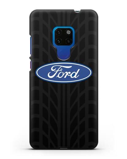 Чехол c эмблемой Ford с протектором шин силикон черный для Huawei Mate 20