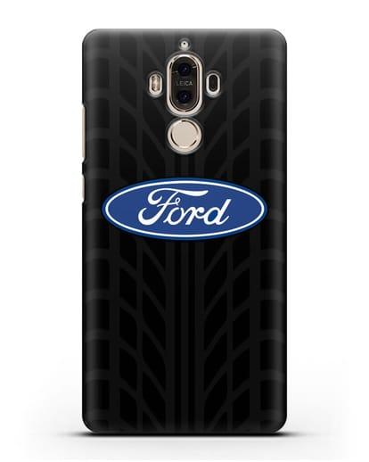 Чехол c эмблемой Ford с протектором шин силикон черный для Huawei Mate 9