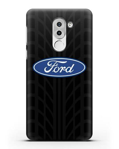 Чехол c эмблемой Ford с протектором шин силикон черный для Huawei Mate 9 Lite