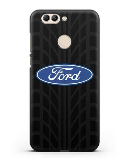 Чехол c эмблемой Ford с протектором шин силикон черный для Huawei Nova 2 Plus