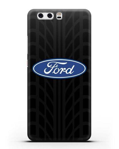 Чехол c эмблемой Ford с протектором шин силикон черный для Huawei P10