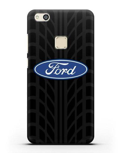 Чехол c эмблемой Ford с протектором шин силикон черный для Huawei P10 Lite
