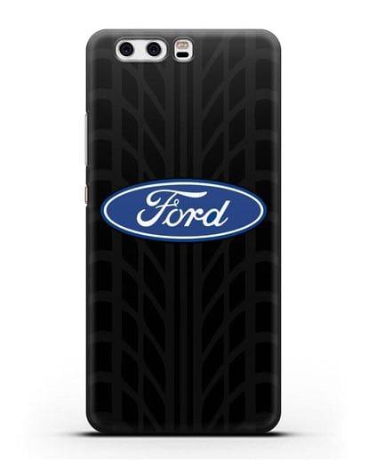 Чехол c эмблемой Ford с протектором шин силикон черный для Huawei P10 Plus