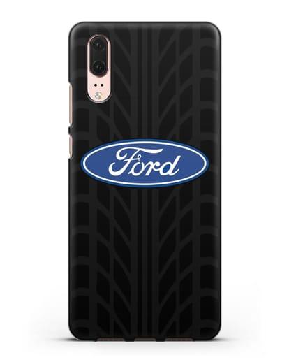 Чехол c эмблемой Ford с протектором шин силикон черный для Huawei P20