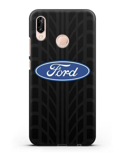 Чехол c эмблемой Ford с протектором шин силикон черный для Huawei P20 Lite