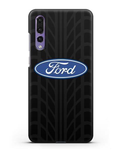 Чехол c эмблемой Ford с протектором шин силикон черный для Huawei P20 Pro