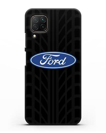 Чехол c эмблемой Ford с протектором шин силикон черный для Huawei P40 lite