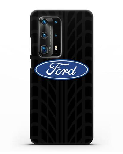 Чехол c эмблемой Ford с протектором шин силикон черный для Huawei P40 Pro