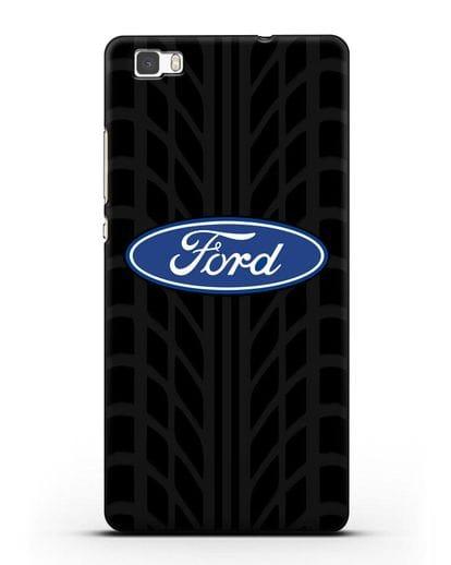 Чехол c эмблемой Ford с протектором шин силикон черный для Huawei P8 Lite