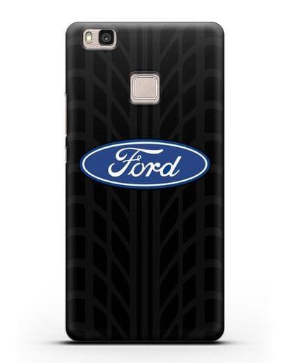 Чехол c эмблемой Ford с протектором шин силикон черный для Huawei P9 Lite