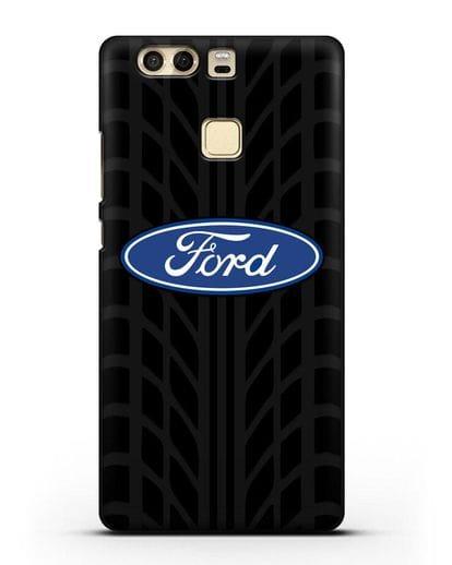 Чехол c эмблемой Ford с протектором шин силикон черный для Huawei P9 Plus