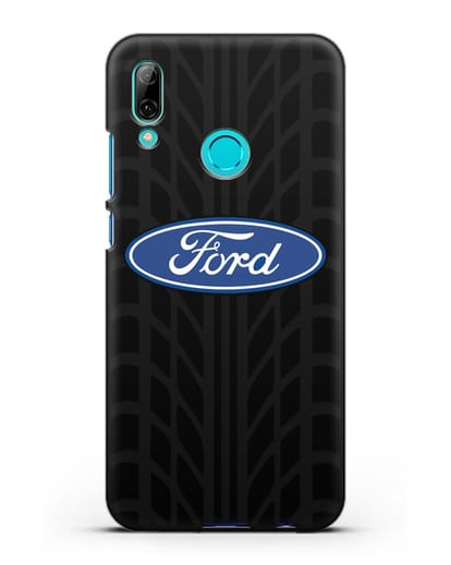 Чехол c эмблемой Ford с протектором шин силикон черный для Huawei P Smart 2019