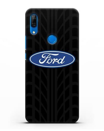 Чехол c эмблемой Ford с протектором шин силикон черный для Huawei P Smart Z