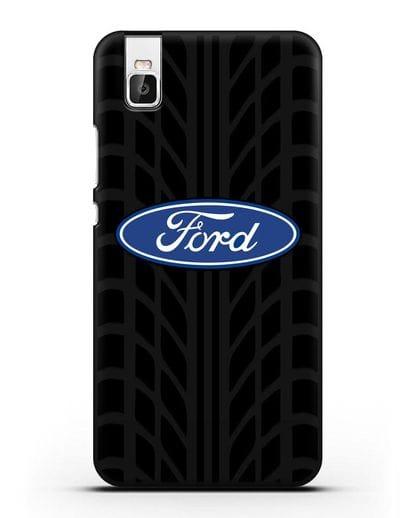 Чехол c эмблемой Ford с протектором шин силикон черный для Huawei Shot X