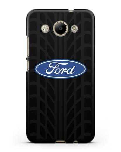 Чехол c эмблемой Ford с протектором шин силикон черный для Huawei Y3 2017