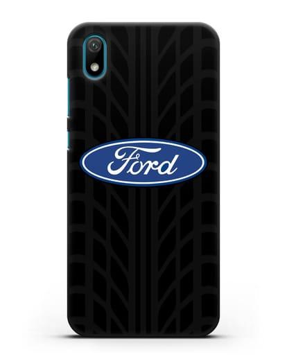 Чехол c эмблемой Ford с протектором шин силикон черный для Huawei Y5 2019