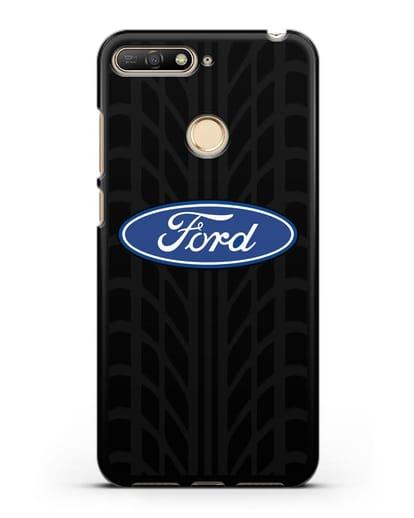 Чехол c эмблемой Ford с протектором шин силикон черный для Huawei Y6 Prime 2018