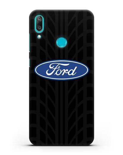 Чехол c эмблемой Ford с протектором шин силикон черный для Huawei Y7 2019