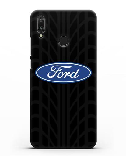 Чехол c эмблемой Ford с протектором шин силикон черный для Huawei Y9 2019