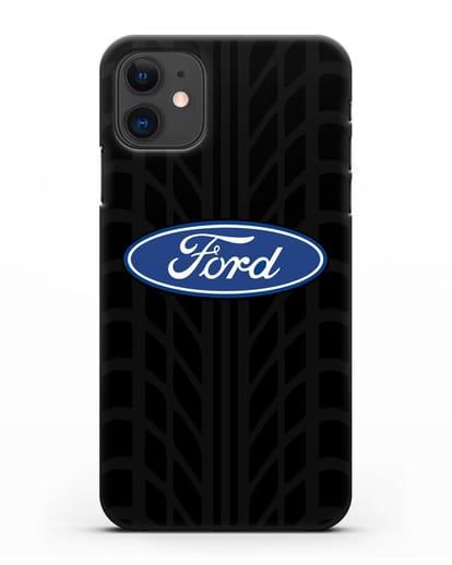 Чехол c эмблемой Ford с протектором шин силикон черный для iPhone 11