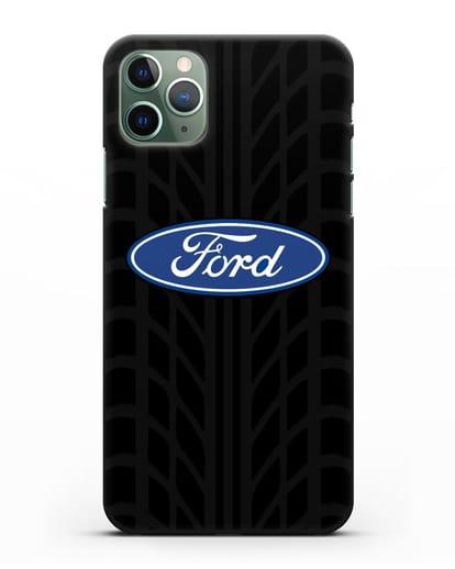 Чехол c эмблемой Ford с протектором шин силикон черный для iPhone 11 Pro Max