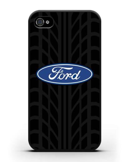 Чехол c эмблемой Ford с протектором шин силикон черный для iPhone 4/4s