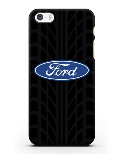 Чехол c эмблемой Ford с протектором шин силикон черный для iPhone 5/5s/SE
