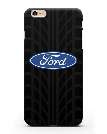 Чехол c эмблемой Ford с протектором шин силикон черный для iPhone 6 Plus