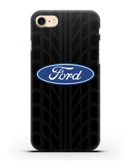 Чехол c эмблемой Ford с протектором шин силикон черный для iPhone 7