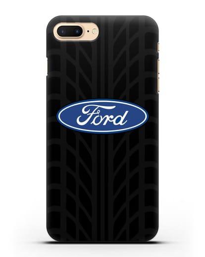 Чехол c эмблемой Ford с протектором шин силикон черный для iPhone 8 Plus