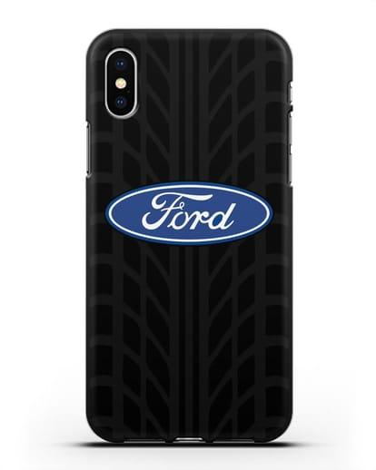 Чехол c эмблемой Ford с протектором шин силикон черный для iPhone XS