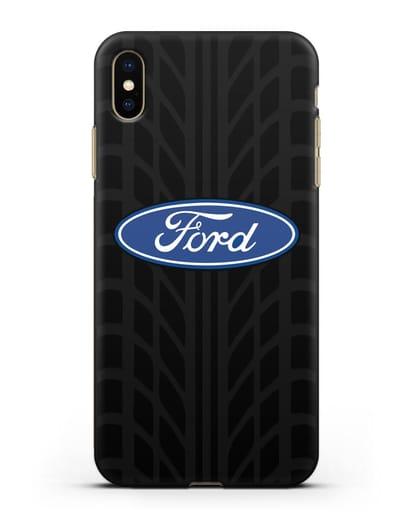 Чехол c эмблемой Ford с протектором шин силикон черный для iPhone XS Max