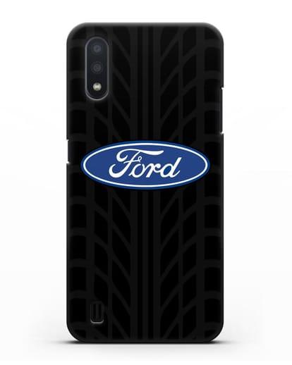 Чехол c эмблемой Ford с протектором шин силикон черный для Samsung Galaxy A01 [SM-A015F]